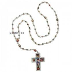 Rosenkranzkette mit 65 Heiligenbildern, aus Metall, bunt