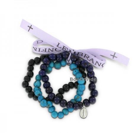 3er Armbandset aus Acai Samen, lila/schwarz/blau, original Sambaia
