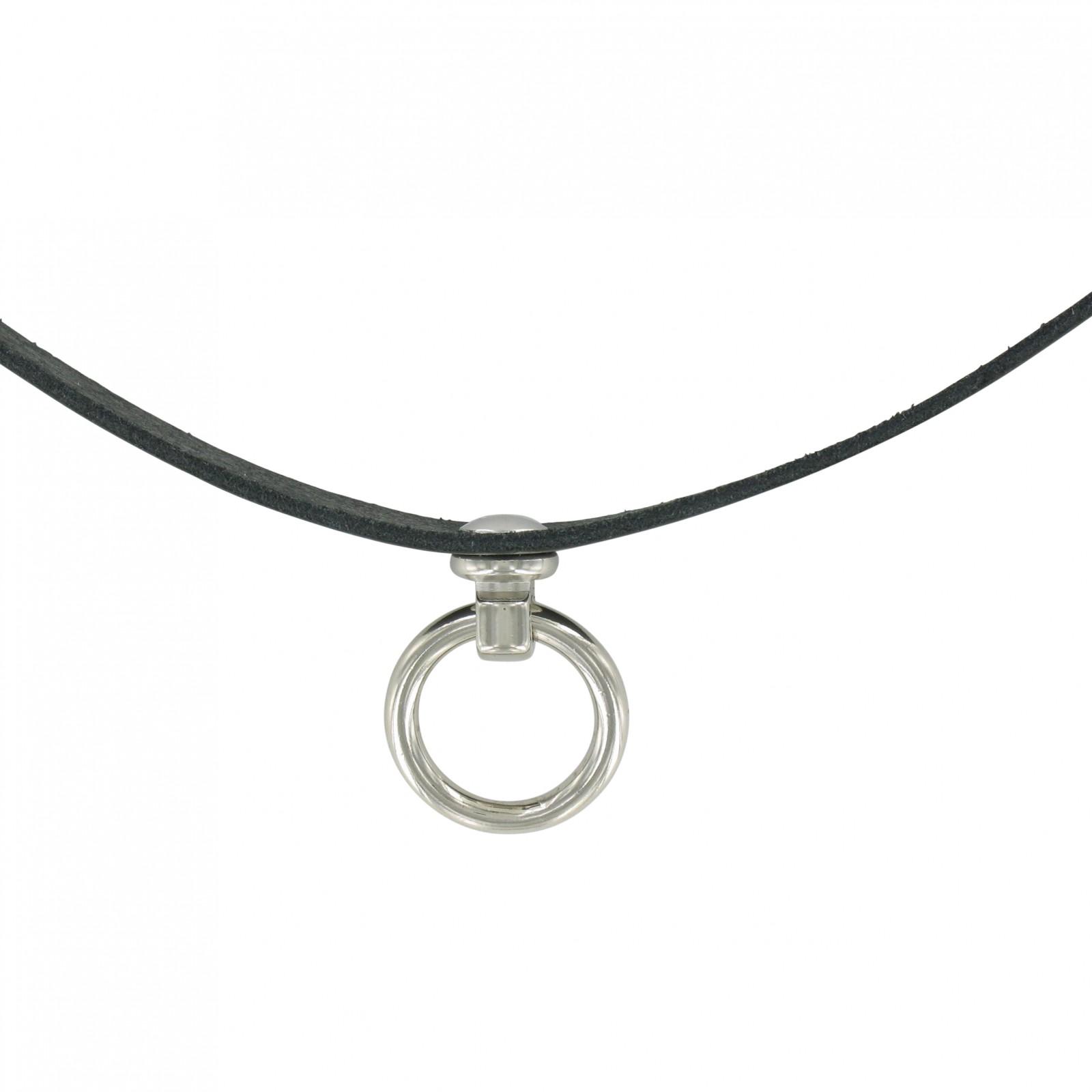 SiaLinda Halsband O Ring Echt Leder schwarz Choker Gothik BDSM  Geschenkkarton  8bebdd4255224