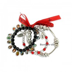 Lifestyle Armband Set - trendiger Materialmix in silber / rot