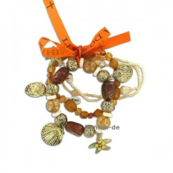 Lifestyle Armband Set - trendiger Materialmix in orange / gold