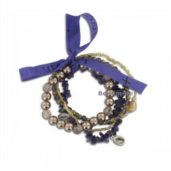 Lifestyle Armband Set - trendiger Materialmix in lila, mit Amethyst